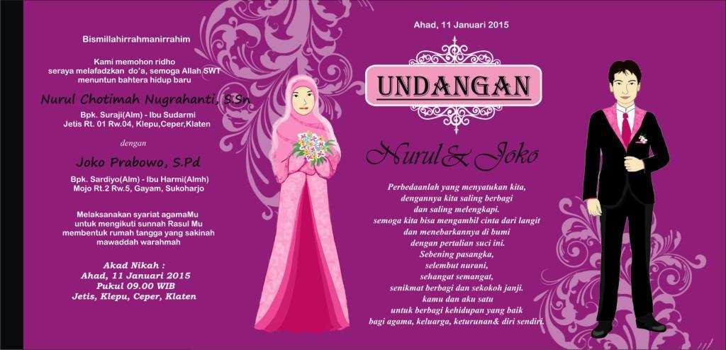 jasa contoh desain undangan perkawinan ungu
